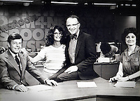 WKRP in Cincinnati reporter and 'Silver Sow' award-winner Les Nessman, (Richard Sanders), visits Newsroom set with Producer Debi Pittman (Wilkey) and  Newsroom Anchors Jim Bolen and Bestey Bruce at KMOX-TV (currently KMOV) in St. Louis, Missouri ... 1979-ish ....