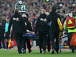 Philippe Coutinho of Liverpool is stretchered off during the Premier League match at the Anfield Stadium, Liverpool. Picture date: November 26th, 2016. Pic Simon Bellis/Sportimage