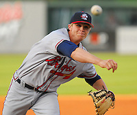 13 April 2007: Kyle Cofield of the Rome Braves, Class A affiliate of the Atlanta Braves, during a game against the Greenville Drive at West End Field, Greenville, S.C. Photo by:  Tom Priddy/Four Seam Images