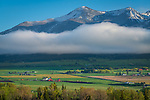 Wallowa County, Oregon:<br /> Spring snow dusts the Wallowa mountains above the Wallowa valley near  Enterprise