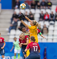 REIMS, FRANCE - JUNE 8: Ingrid Hjelmseth #1 of Norway misses the ball during a 2019 FIFA Women's World Cup match between Norway and Nigeria at Stade Auguste-Delaune on June 8, 2019 in Reims, France.