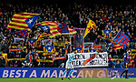 Soccer fans of FC Barcelona waves flags and show their supports during the La Liga 2018-19 match between FC Barcelona and RC Celta de Vigo at Camp Nou on 22 December 2018 in Barcelona, Spain. Photo by Vicens Gimenez / Power Sport Images