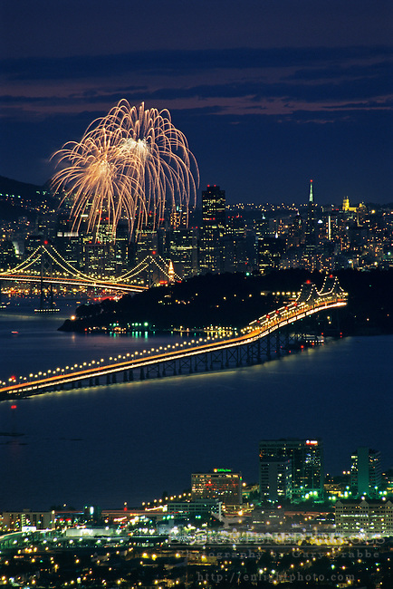 Fireworks over downtown San Francisco, California
