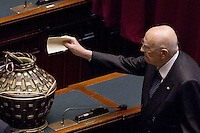 Roma, 30 Gennaio 2015<br /> Giorgio Napolitano.<br /> Camera dei Deputati - Elezione del Presidente della Repubblica<br /> Seconda votazione.<br /> Rome, January 30, 2015<br /> Chamber of Deputies - Election of the President of the Republic<br /> Second Vote.