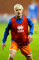 Blackpool's Harry Winstanley<br /> <br /> Photographer Alex Dodd/CameraSport<br /> <br /> The FA Youth Cup Third Round - Blackpool U18 v Derby County U18 - Tuesday 4th December 2018 - Bloomfield Road - Blackpool<br />  <br /> World Copyright &copy; 2018 CameraSport. All rights reserved. 43 Linden Ave. Countesthorpe. Leicester. England. LE8 5PG - Tel: +44 (0) 116 277 4147 - admin@camerasport.com - www.camerasport.com