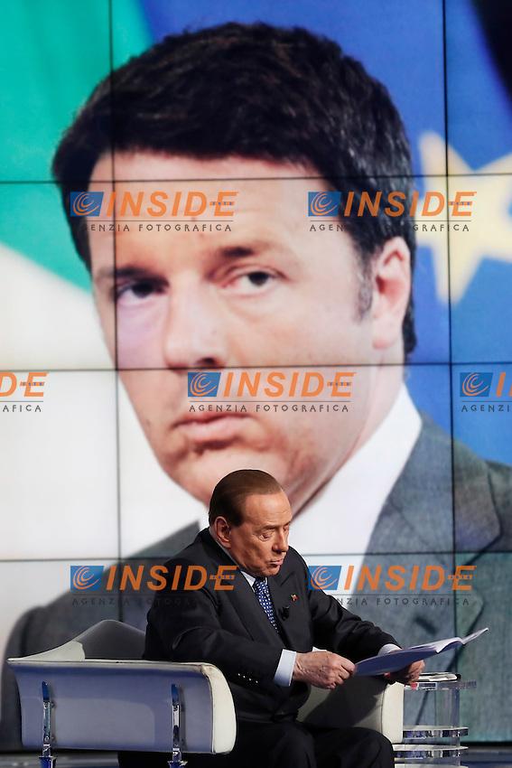 Silvio Berlusconi e nel video Matteo Renzi<br /> Roma 25-05-2016 Trasmissione tv Porta a Porta. <br /> Tv Show Porta a Porta. <br /> Photo Samantha Zucchi Insidefoto