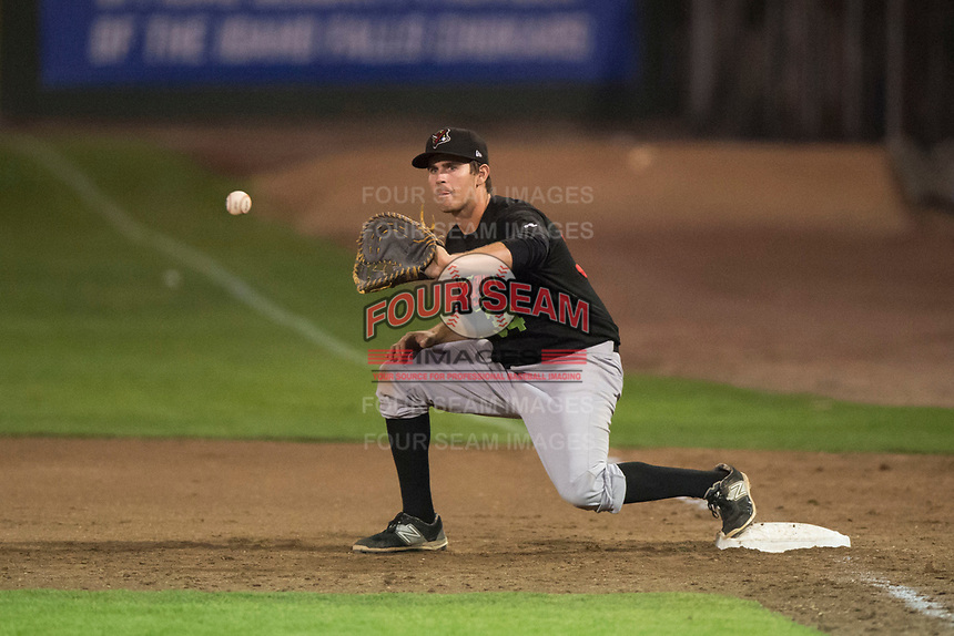 Great Falls Voyagers first baseman Ryan Fitzpatrick (34) during a Pioneer League game against the Idaho Falls Chukars at Melaleuca Field on August 18, 2018 in Idaho Falls, Idaho. The Idaho Falls Chukars defeated the Great Falls Voyagers by a score of 6-5. (Zachary Lucy/Four Seam Images)