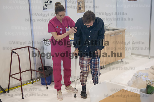 Participant competes in home caring and health during the EuroSkills European Championship of young professionals in Budapest, Hungary on Sept. 26, 2018. ATTILA VOLGYI