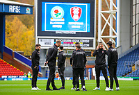 The Rotherham United team inspect the pitch at Ewood Park, before kick off<br /> <br /> Photographer Alex Dodd/CameraSport<br /> <br /> The EFL Sky Bet Championship - Blackburn Rovers v Rotherham United - Saturday 10th November 2018 - Ewood Park - Blackburn<br /> <br /> World Copyright &copy; 2018 CameraSport. All rights reserved. 43 Linden Ave. Countesthorpe. Leicester. England. LE8 5PG - Tel: +44 (0) 116 277 4147 - admin@camerasport.com - www.camerasport.com