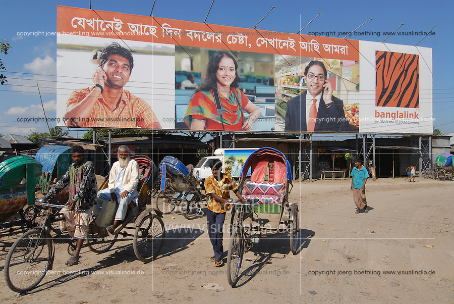 "Asien Suedasien Bangladesh , Rikscha und Werbeplakat fuer Mobilfunk -  xagndaz | .South asia Bangladesh , bicycle rikshaw and wallposter for mobile phones Banglalink - transport .| [ copyright (c) Joerg Boethling / agenda , Veroeffentlichung nur gegen Honorar und Belegexemplar an / publication only with royalties and copy to:  agenda PG   Rothestr. 66   Germany D-22765 Hamburg   ph. ++49 40 391 907 14   e-mail: boethling@agenda-fototext.de   www.agenda-fototext.de   Bank: Hamburger Sparkasse  BLZ 200 505 50  Kto. 1281 120 178   IBAN: DE96 2005 0550 1281 1201 78   BIC: ""HASPDEHH"" ,  WEITERE MOTIVE ZU DIESEM THEMA SIND VORHANDEN!! MORE PICTURES ON THIS SUBJECT AVAILABLE!!  ] [#0,26,121#]"