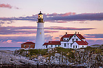 A Classic New England Lighthouse, The Portland Head Light After Sunset, Portland Maine, USA