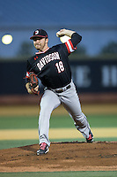 Davidson Wildcats starting pitcher Andrew Ashur (18) in action against the Wake Forest Demon Deacons at David F. Couch Ballpark on February 28, 2017 in Winston-Salem, North Carolina.  The Demon Deacons defeated the Wildcats 13-5.  (Brian Westerholt/Four Seam Images)
