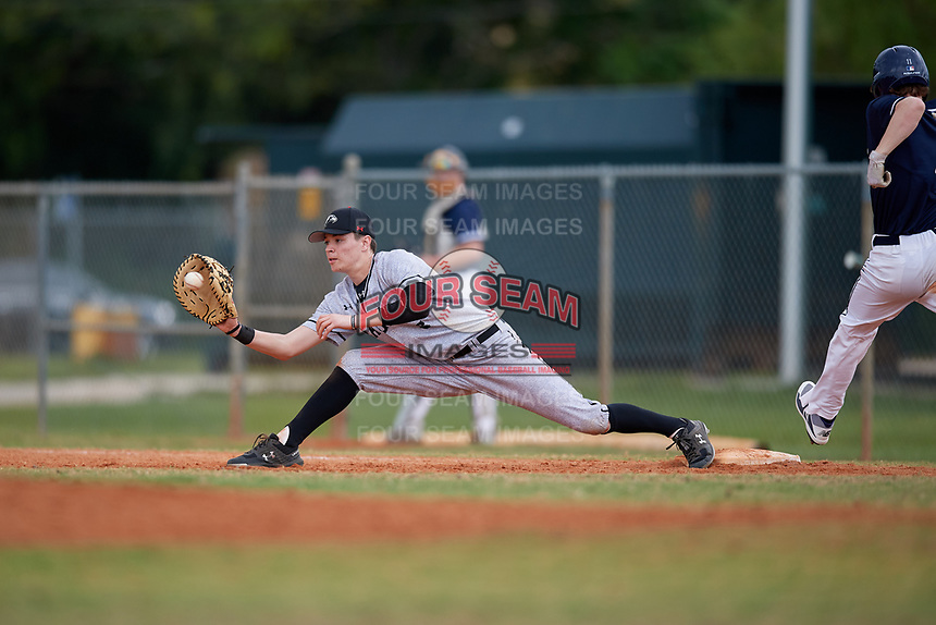 Edgewood Eagles first baseman Joseph Kalafut (6) during the second game of a double header against the Bethel Wildcats on March 15, 2019 at Terry Park in Fort Myers, Florida.  Bethel defeated Edgewood 3-2.  (Mike Janes/Four Seam Images)