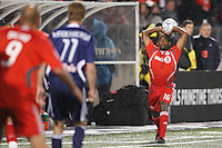 Toronto FC defender Marvell Wynne (16) on a throw in. Toronto FC and the New York Red Bulls played to a 1-1 tie during a Major League Soccer match at BMO Field in Toronto, Ontario, Canada, on May 1, 2008.