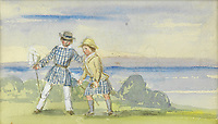 BNPS.co.uk (01202) 558833. <br /> Pic: Bonhams/BNPS<br /> <br /> A charming watercolour by Queen Victoria of her two eldest sons playing on the Isle of Wight has emerged for sale for £6,000.<br /> <br /> The piece, which is believed to date to around 1850, depicts Princes Edward and Alfred, playing together on the grounds of Osborne House.<br /> <br /> The two young royals would have been aged around nine and six at the time and the image paints a heartwarming picture of their family life.