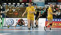 Handball Frauen / Damen  / women 1. Bundesliga - DHB - HC Leipzig : Frankfurter HC - im Bild: hatten in der Phase des Spiels noch Grund zum Strahlen - Maike Daniels und Louise Lyksborg (r.) . Foto: Norman Rembarz .