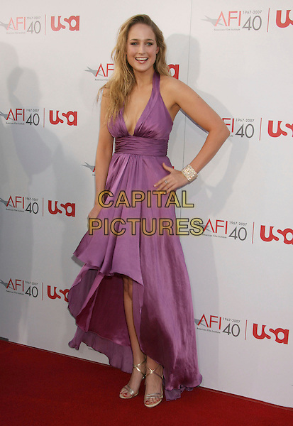 LEELEE SOBIESKI.35th AFI Life Achievement Award Honoring Al Pacino held at the Kodak Theatre, Hollywood, California, USA..June 7th, 2007.full length purple cleavage halterneck plunging neckline dress hand on hip silver shoes bracelet  .CAP/ADM/RE.©Russ Elliot/AdMedia/Capital Pictures