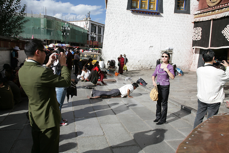 Tourists come from all over the world to expeerience Lhasa.