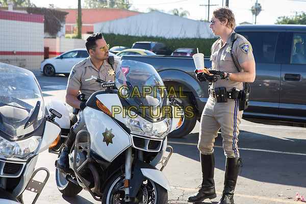 CHIPS (2017)<br /> MICHAEL PENA as Ponch and DAX SHEPARD as Jon<br /> *Filmstill - Editorial Use Only*<br /> FSN-K<br /> Image supplied by FilmStills.net