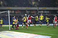 Bobby Grant of Fleetwood Town heads goal wards during the Sky Bet League 1 match between Oxford United and Fleetwood Town at the Kassam Stadium, Oxford, England on 10 April 2018. Photo by David Horn.