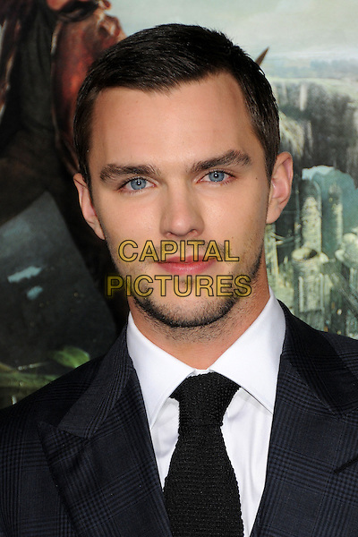"Nicholas Hoult.""Jack The Giant Slayer"" Los Angeles Premiere held at Grauman's Chinese Theatre, Hollywood, California, USA..February 26th, 2013.headshot portrait black blue tie shirt stubble facial hair check suit .CAP/ADM/BP.©Byron Purvis/AdMedia/Capital Pictures."