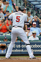 Atlanta Braves first baseman Freddie Freeman #5 awaits a pitch during a game against the Colorado Rockies at Turner Field on September 3, 2012 in Atlanta, Georgia. The Braves  defeated the Rockies 6-1. (Tony Farlow/Four Seam Images).