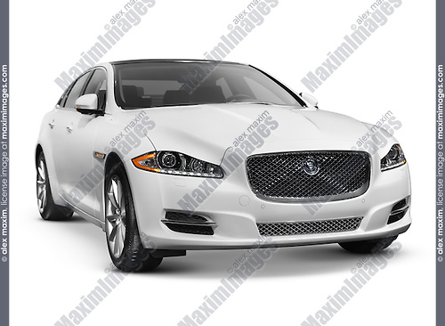White 2011 Jaguar XJ luxury sedan. Isolated car on white background with clipping path.
