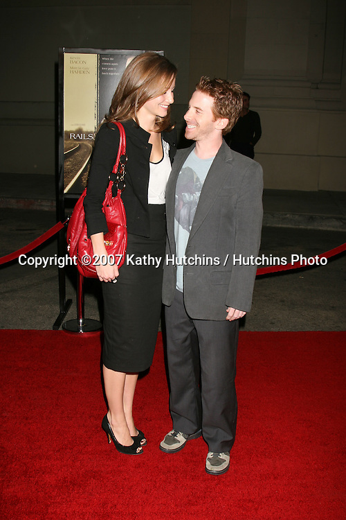 "Candice Bailey & Seth Green .""Rails & Ties"" Premiere.Stephen J. Ross Theater.Warner Brothers Lot.Burbank,  CA.October 23, 2007.©2007 Kathy Hutchins / Hutchins Photo...               ."