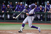 CHAPEL HILL, NC - FEBRUARY 19: Sam Zayicek #28 of High Point University hits the ball during a game between High Point and North Carolina at Boshamer Stadium on February 19, 2020 in Chapel Hill, North Carolina.