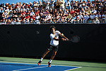 Skander Mansouri of the Wake Forest Demon Deacons returns the ball during his match at #1 doubles against the Ohio State Buckeyes during the 2018 NCAA Men's Tennis Championship at the Wake Forest Tennis Center on May 22, 2018 in Winston-Salem, North Carolina. (Brian Westerholt/Sports On Film)