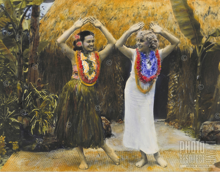 Hula lessons, handtinted archive photo