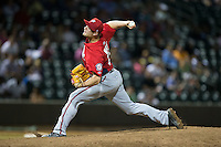 Potomac Nationals relief pitcher Dakota Bacus (27) in action against the Winston-Salem Dash at BB&T Ballpark on May 13, 2016 in Winston-Salem, North Carolina.  The Dash defeated the Nationals 5-4 in 11 innings.  (Brian Westerholt/Four Seam Images)