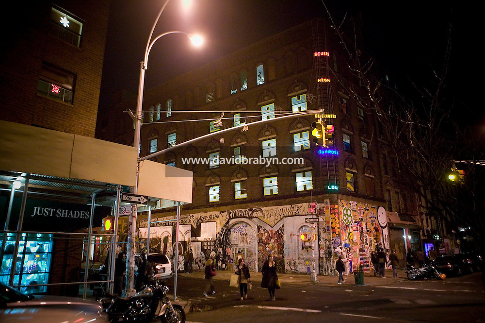 15 December 2006 - New York City, NY - View of the 19th-century brick building at 11 Spring Street in the NoLIta neighborhood of New York City, USA, 15 December 2006, holding a three-day street art exhibition entitled Wooster on Spring. The building's new owners, Caroline Cummings and Bill Elias, called on the Wooster Collective to curate the show as a last hurrah for a site that long served as a canvas for street art.&amp;#xA;<br />