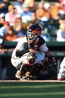 Baltimore Orioles catcher Caleb Joseph (36) during a Spring Training game against the Atlanta Braves on April 3, 2015 at Ed Smith Stadium in Sarasota, Florida.  Baltimore defeated Atlanta 3-2.  (Mike Janes/Four Seam Images)