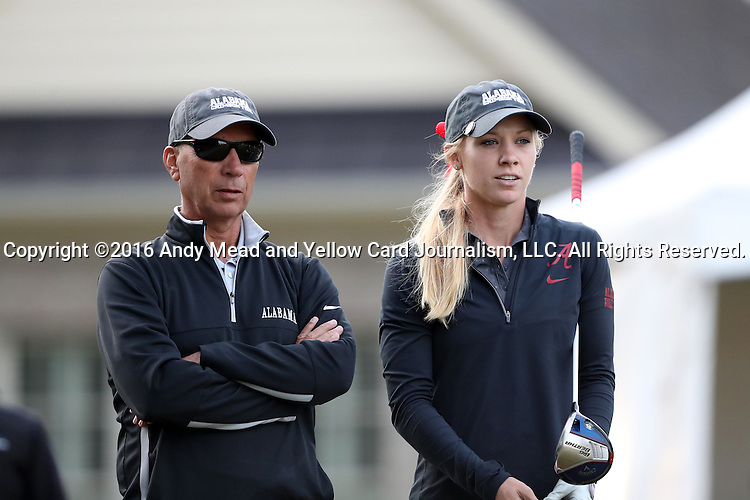 28 October 2016: University of Alabama's Cammie Gray (right) with head coach Mic Potter (left). The First Round of the 2016 Landfall Tradition NCAA Women's Golf Championship hosted by the University of North Carolina Wilmington Seahawks was held at the Pete Dye Course at the Country Club of Landfall in Wilmington, North Carolina.