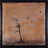 Crows in brown sky and silhouette of bare tree transfer/encaustic painting by Florida Artist Jeff League.