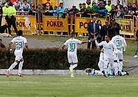 IPIALES-COLOMBIA, 21-09-2019: Jugadores de Atlético Nacional, celebran el gol anotado a Deportivo Pasto, durante partido de la fecha 12 entre Deportivo Pasto y Atlético Nacional por la Liga Águila II 2019  jugado en el estadio Municipal de Ipiales de la Ciudad de Ipiales. / Players of Atletico Nacional, celebrate the scored goal to Deportivo Pasto, during a match of the 12th date between Deportivo Pasto and Atletico Nacional for the Aguila Leguaje II 2019 played at the Municipal de Ipiales stadium in Ipiales city. Photo: VizzorImage / Leonardo Castro / Cont.
