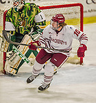 24 November 2013: University of Massachusetts Forward Shane Walsh, a Sophomore from West Roxbury, MA, in third period action against the University of Vermont Catamounts at Gutterson Fieldhouse in Burlington, Vermont. The Cats shut out the Minutemen 2-0 to sweep the 2-game home-and-away weekend Hockey East Series. Mandatory Credit: Ed Wolfstein Photo *** RAW (NEF) Image File Available ***