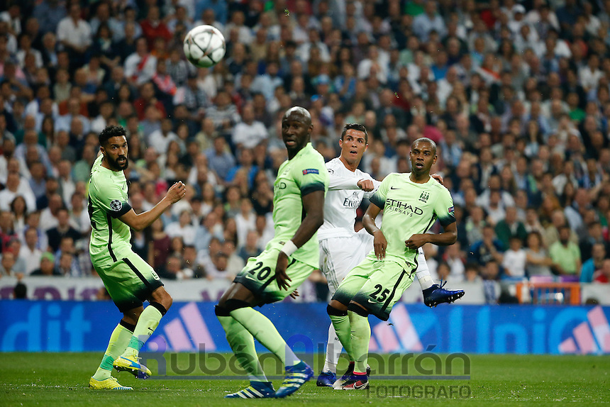Real Madrid&acute;s Portuguese forward Cristiano Ronaldo<br /> during the UEFA Champions League match between Real Madrid and Manchester City at the Santiago Bernabeu Stadium in Madrid, Wednesday, May 4, 2016.