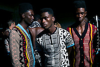 CAPE TOWN, SOUTH AFRICA JULY 2: Models walking for the fashion designer Laduma Ngxolo of label MaXhosa by Laduma waits backstage before a show at South Africa Menswear week 2015 on July 2, 2015 in Cape Town, South Africa. The second edition of SAMW featured designers from South Africa and around Africa showing spring and summer collections during the 3-day event.  The label celebrates the rich heritage of the Xhosa culture using traditional Xhosa motifs and patterns for their range of knitted clothing. (Photo by Per-Anders Pettersson)