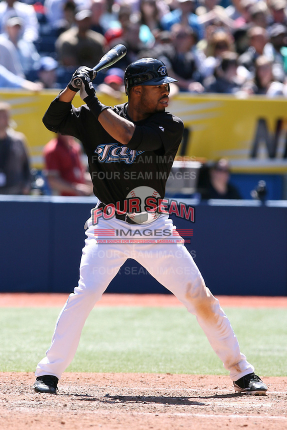 May 24th 2009:  Designated hitter Shannon Stewart (23) of the Toronto Blue Jays during a game at the Rogers Centre in Toronto, Ontario, Canada .  Photo by:  Mike Janes/Four Seam Images