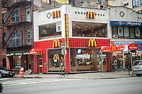 A McDonald's Express restaurant in the Hudson Square neighborhood of New York on Sunday, January 22, 2017. (© Richard B. Levine)