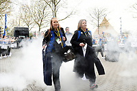 Emma Hill, Helen Shand and the rest of Bath Rugby arrive at Twickenham. Gallagher Premiership match, The Clash, between Bath Rugby and Bristol Rugby on April 6, 2019 at Twickenham Stadium in London, England. Photo by: Patrick Khachfe / Onside Images
