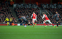 Robert Lewandowski of Bayern Munich is brought down by Laurent Koscielny of Arsenal for a penalty during the UEFA Champions League round of 16 match between Arsenal and Bayern Munich at the Emirates Stadium, London, England on 7 March 2017. Photo by Alan  Stanford / PRiME Media Images.