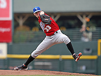 Norfolk Tides Starting Pitcher Brandon Erbe (33) delivers a pitch during a game vs. the Rochester Red Wings at Frontier Field in Rochester, New York;  June 3, 2010.   Rochester defeated Norfolk by the score of 9-0.  Photo By Mike Janes/Four Seam Images