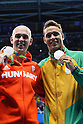 (L-R) Laszlo Cseh (HUN), Chad le Clos (RSA), <br /> AUGUST 12, 2016 - Swimming : <br /> Men's 100m Butterfly Medal Ceremony <br /> at Olympic Aquatics Stadium <br /> during the Rio 2016 Olympic Games in Rio de Janeiro, Brazil. <br /> (Photo by Yohei Osada/AFLO SPORT)