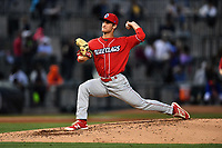 Starting pitcher Nick Fanti (20) of the Lakewood BlueClaws delivers a pitch during his combined no-hitter against the Columbia Fireflies on Saturday, May 6, 2017, at Spirit Communications Park in Columbia, South Carolina. Fanti pitched a scoreless 8 and two-thirds, with Trevor Bettencourt picking up the final out for a 1-0 win. (Tom Priddy/Four Seam Images)