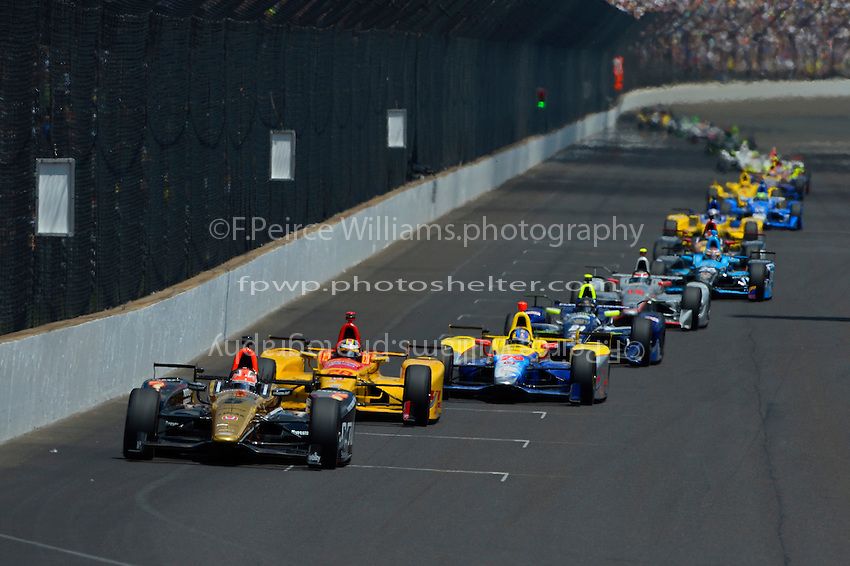 29 May, 2016, Indianapolis, Indiana, USA<br /> James Hinchcliffe (#5) leads Ryan Hunter-Reay (#28), Townsend Bell (#29) and Josef Newgarden (#21)<br /> &copy;2016, F. Peirce Williams