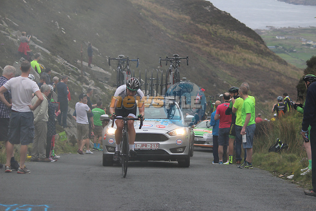 Riders on the first Cat 1 climb Mamore Gap during Stage 4 of the 2017 An Post Ras running 151.8km from Bundoran to Buncrana, Ireland. 24th May 2017.<br /> Picture: Andy Brady | Cyclefile<br /> <br /> <br /> All photos usage must carry mandatory copyright credit (&copy; Cyclefile | Andy Brady)