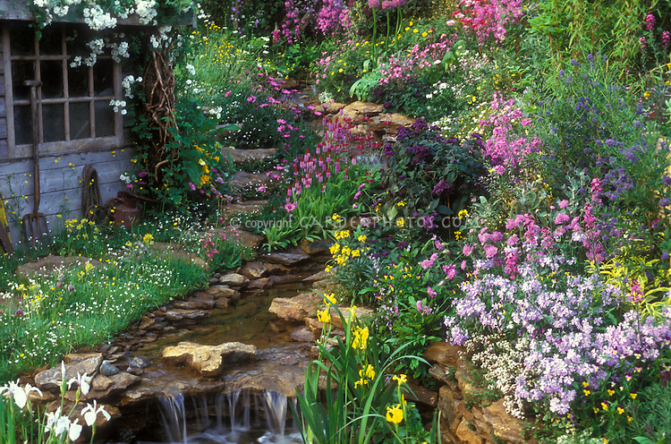 Lush Spring Garden With Waterfall Stream Plant Amp Flower